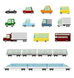 Cars Collection Vehicles in cartoon flat style vector