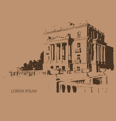 Classical facade with columns made in hand drawn vector