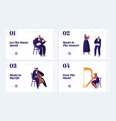 classical musicians with instruments website vector image