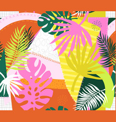 collage contemporary floral palm leaves and vector image