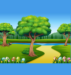 colored easter eggs in a green grass with nature b vector image