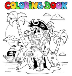 coloring book with pirate theme 9 vector image