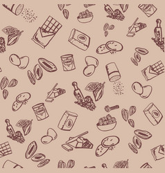 cookie ingredients pattern on beige background vector image