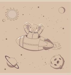 Cute elephant astronaut in space vector