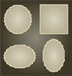 Decorative silver frame Circle oval and square vector