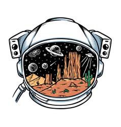 Desert in astronaut helmet vector