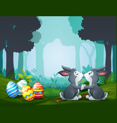 Easter bunnies kissing with more eggs vector