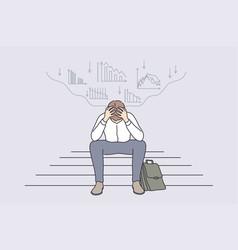 Economic regression failure in business concept vector