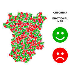 Emotional chechnya map collage of smileys vector