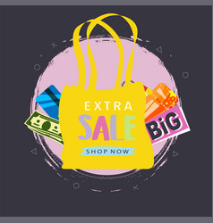 extra sale shopping bags marketing poster vector image