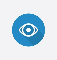 eye Flat Blue Simple Icon with long shadow vector image