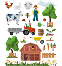 Farm low poly set of icons vector