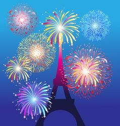 fireworks on eiffel tower in paris beautiful vector image