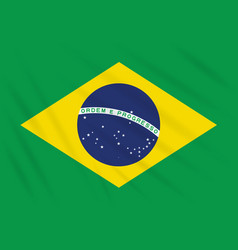 Flag brazil swaying in wind realistic vector