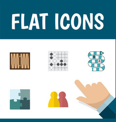 flat icon games set of jigsaw gomoku people and vector image