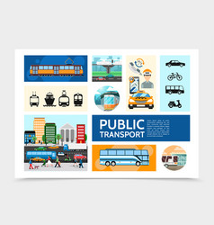 flat public transport infographic template vector image