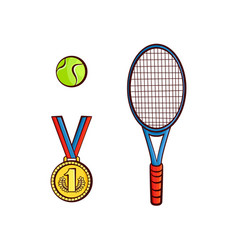 Flat sketch tennis ball racquet medal vector