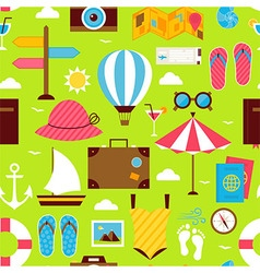 Flat Summer Time Travel Seamless Pattern vector