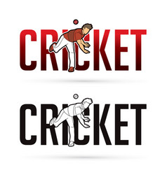 Font cricket with cricketer players action cartoon vector