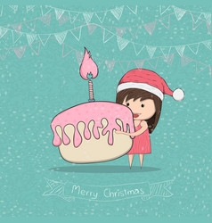 Girl with cupcake merry christmas drawing by hand vector