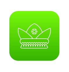 gold crown icon green vector image