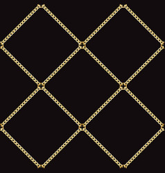 golden chains seamless pattern on black background vector image