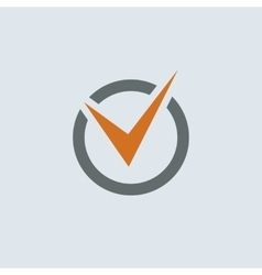 Gray-orange Check Mark Round Icon vector