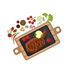 Grilled Steak on Plate vector image