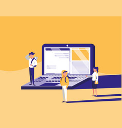 Group of people with laptop computer in landscape vector