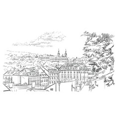 Hand drawing prague 3 vector