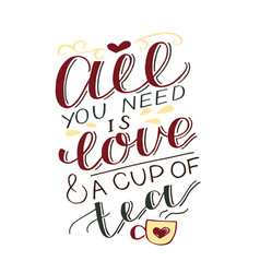 Hand-lettering inscription all you need is love vector