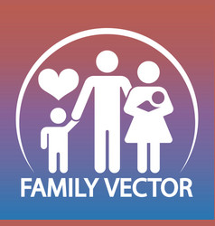 happy family logo design - parents and two kids vector image