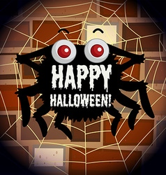 Happy halloween poster with spider web vector image