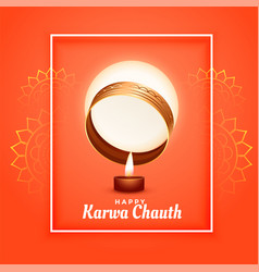 Happy karwa chauth festival greeting with full vector