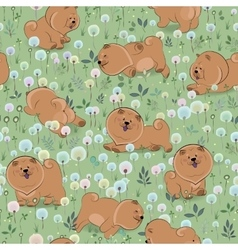 Happy puppies on the blossoming field vector
