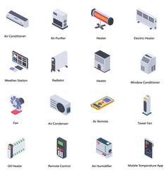 Home climate control icons pack vector