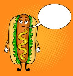 hot dog cartoon pop art vector image