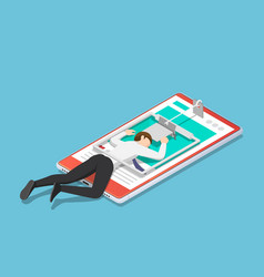 isometric businessman trapped in a mousetrap on vector image