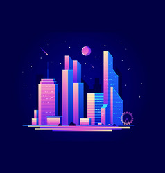 landscape of night city with skyscrapers buildings vector image
