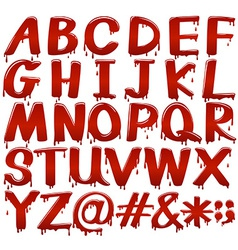 Letters of the alphabet in bloody fontstyle vector
