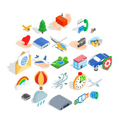 light aviation icons set isometric style vector image