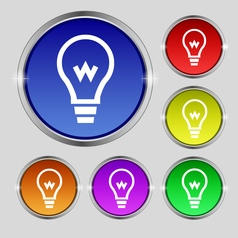 Light bulb icon sign Round symbol on bright vector image