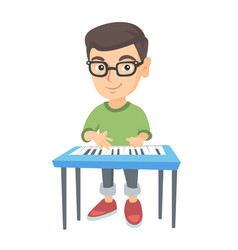 Little caucasian boy playing the piano vector