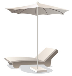 Lounge chair with umbrella vector