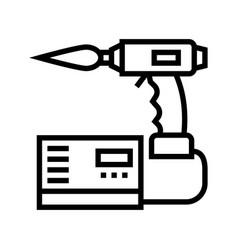 Manual arc welding line icon vector
