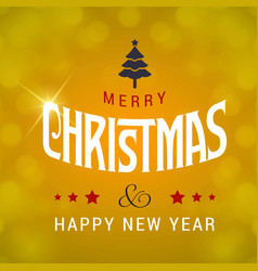 merry christmas greetings design with yellow vector image