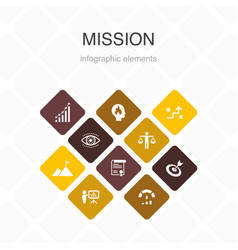 Mission infographic 10 option color designgrowth vector