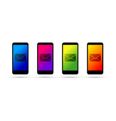 mobile cell phone email set vector image