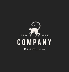 monkey long tail hipster vintage logo icon vector image