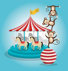 Monkeys and carousel circus show vector